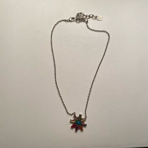 NWOT Dannijo Silver Necklace with Rainbow Stones